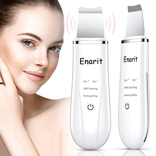 Enarit Skin Scrubber Face Scrubber Spatula, Blackhead Remover Pore Cleaner with 4 Modes, Rechargeable Facial Skin Scrubber Tools, Comedones Extractor for Facial Deep Cleansing (White)