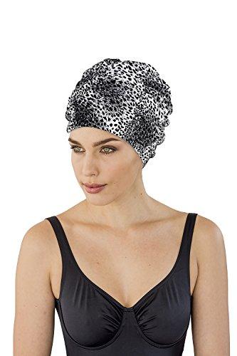 Fashy - Cuffia da doccia con ampia fascia per la testa, colore: Nero/Bianco