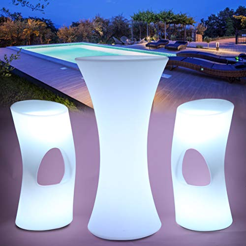 TABLE MANGE DEBOUT avec 2 tabourets LED OPTEX FPE, à LED, batterie rechargeable, autonomie 6 à 8h, télécommande