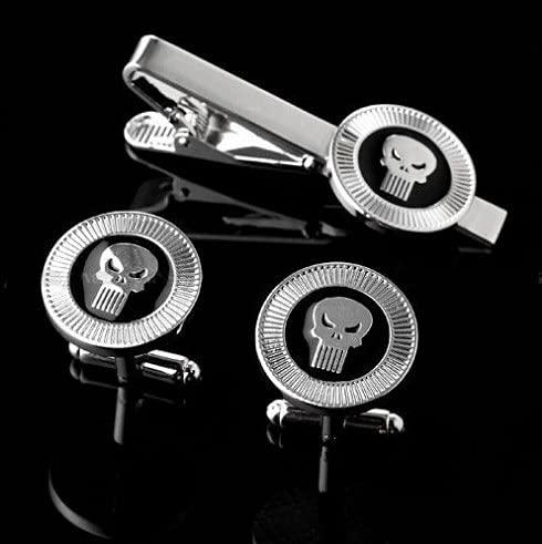 kangzhiyuan Krawattenklammern, Krawattenklammer und Manschettenknopf-Set (1 Set = 1 Paar Manschettenknöpfe + 1 Krawattenclip) Krawattenklammern (Metallfarbe: Punisher)