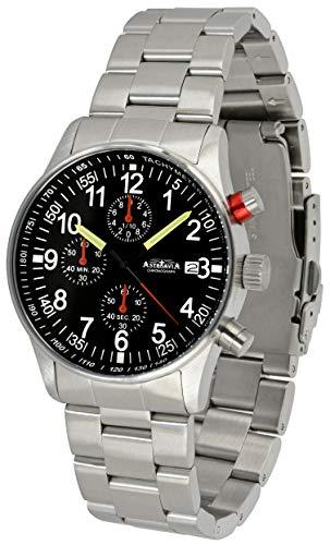 Astroavia Reloj cronógrafo de cuarzo para hombre acero inoxidable Negro 40mm N97S
