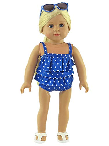 Blue Polka Dot Ruffle Bathing Suit-Fits 18' American Girl Dolls, Madame Alexander, Our Generation, etc. | 18 Inch Doll Clothes
