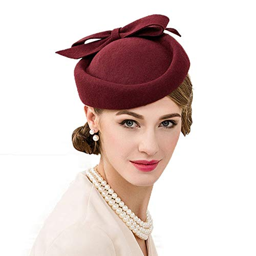 F FADVES British Style Pillbox Hat Retro Wool Fascinator Wedding Derby Church Party Hats Wine Red