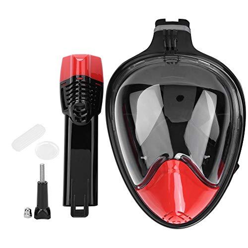 Snorkel Mask, Swim Snorkel Snorkel Goggles Gafas de Buceo para Hombres Equipo de Snorkel Silicona líquida Todo seco Cara Completa Anti-vaho Adultos Máscara de Buceo(Negro Rojo s/m)
