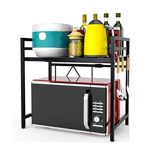 Expandable Microwave Oven Rack Extension Carbon Steel 2-Tier Kitchen Counter Shelf Organizer With 3 Hooks, 66lbs Load Bearing (Black)