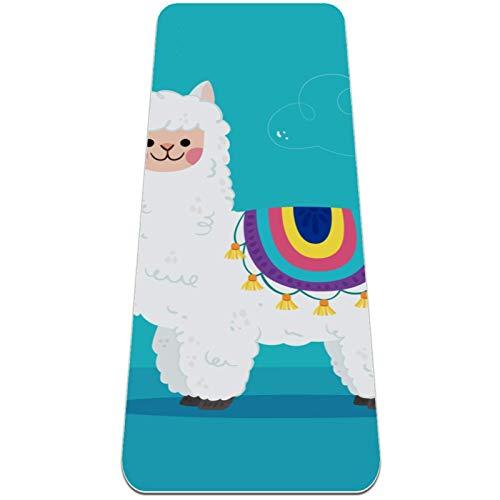 AIBILI Esterilla de yoga respetuosa con el medio ambiente, antideslizante y almohadilla de entrenamiento de amortiguación óptima para mujeres y hombres (72 x 24 x 6 mm) Preciosa caricatura Alpaca-01