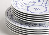 Kahla 16A141O75019H Blau Saks Geschirrset Porzellan Tafelservice Tellerset für 6 Personen blauweiß rund 12-teilig Suppenteller 22 cm Speiseteller groß 26 cm - 4