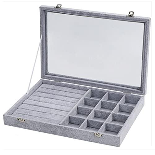 QIFFIY Caja de joyería de Peluche, Caja de Almacenamiento de joyería de Gran Capacidad con Tapa Superior Transparente de Vidrio, como Regalo de cumpleaños 35 * 24 * 3 cm (tamaño : Ring+12 Grid)