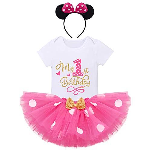 FYMNSI Recién Nacida Bebé Niñas Mi Primer Cumpleaños Trajes Conjuntos Disfraz De Minnie Princesa Vestido Tutu Manga Corta Mameluco Lunares Falda Oído Diadema 3 Piezas Set Rosa Caliente 1 año