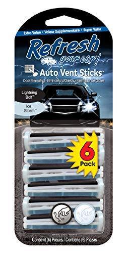 Refresh Your Car! E300906000 Vent Sticks, 6 Per Pack, Lightning Bolt Ice Storm Scent
