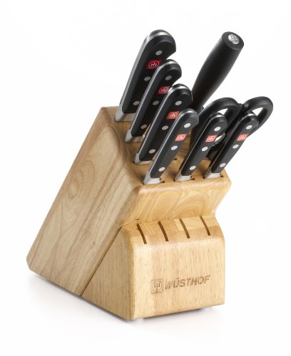 WÜSTHOF Classic Nine Piece Knife Block Set | 9-Piece German Knife Set | Precision Forged High Carbon Stainless Steel Kitchen Knife Set with 13 Slot Wood Block – Model 7419