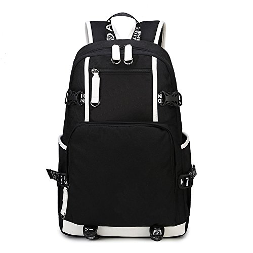 MIMI KING Rucksack Schultasche Für Jungen Teenage College Style Oxford wasserdichte Vintage Reise Wandern Große Laptop-Handtasche 19 Zoll,Black