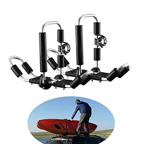 InLoveArts Portaequipajes para Kayak 1 par de Porta-Kayak J Soporte para Carros Porta-Caravan Kayak Transporte de Carga para Techo Universal con Accesorios para Conexiones SUV Car Truck