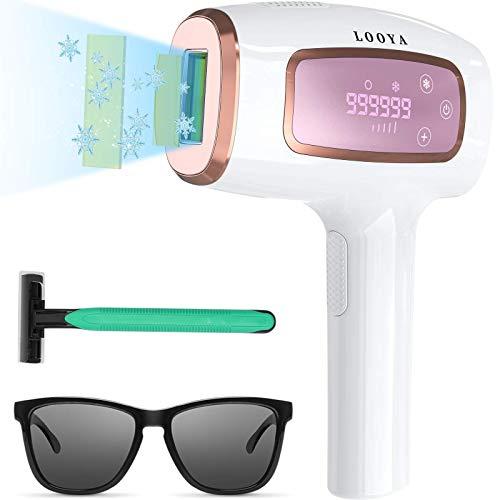 IPL Geräte Haarentfernung Laser Eiskühlsystem, IPL Haarentfernungsgerät Schmerzloses Dauerhaft haarentfernungsgerät, für Körper und Gesicht,Präzisionsaufsatz für Empfindlichere Bereiche,999.999 Blitze