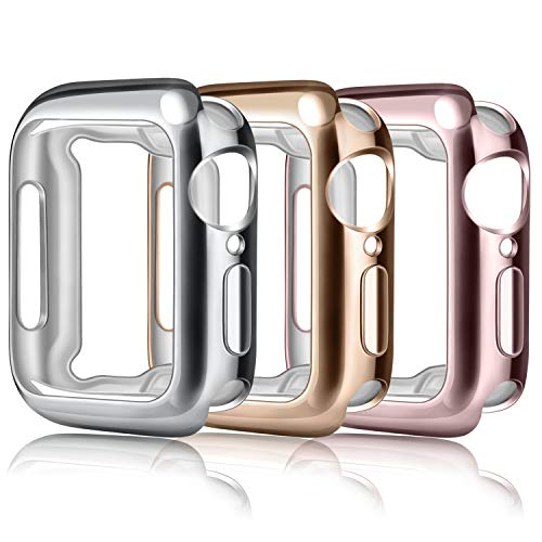 Wanme 3 Pack Protectora Funda Compatible con Apple Watch 44mm 42mm 40mm 38mm, Suave TPU Protector de Pantalla para iWatch Series 5/4/3/2/1