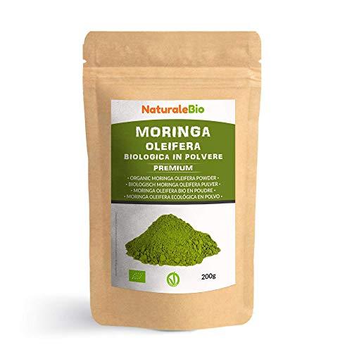 Moringa Oleifera Ecológica en Polvo [Calidad Premium] de 200g. Moringa Powder Organica, 100% Bio, Natural y Pura. Hojas Recogidas de la Planta de Moringa Oleífera. NaturaleBio