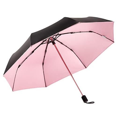SANUMBRE Paraguas de Viaje Protector Solar Anti-UV Disipación de Calor Plegada Ligero y portátil Interruptor Push-Pull Mango Antideslizante Secado rápido Uso Dual (Color : Rosado)