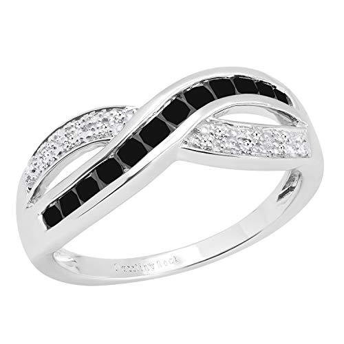 Dazzlingrock Collection - Anillo de boda para mujer, diseño de piedras preciosas y diamantes blancos redondos