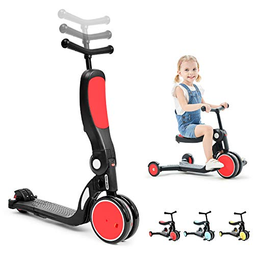 beberoad Kid Scooter, 3 in 1 Kid Tricycle 3 Wheels Toddler Bike Adjustable Height Baby Trike Balance Bike for 2-6 Years Old Boys & Girls