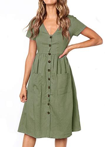 Keven Damen Kurzarm Sommerkleider V-Ausschnitt Vintage Knöpfe Kleid Strandkleider Mit Taschen (M, Grün)