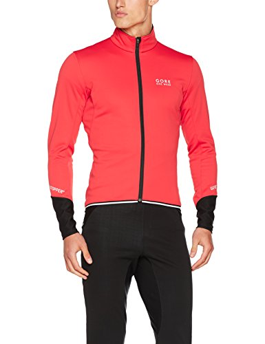 GORE BIKE WEAR, Chaqueta de ciclismo en carretera, Hombre, GORE WINDSTOPPER Soft Shell, POWER 2.0 Jacket, Talla S, Rojo/Negro, JWPOSO