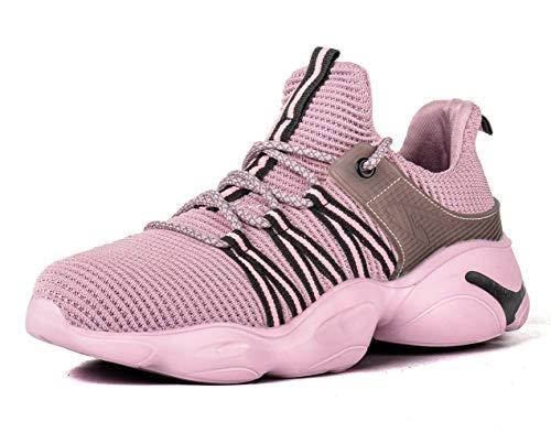 [ブルーポメロ] 安全靴 あんぜん靴 作業靴 メンズ レディース 軽量 通気性 鋼先芯 JIS H級相当 KEVLARミッドソール 耐摩耗 クッション性 オシャレ 801ピンク 24.5