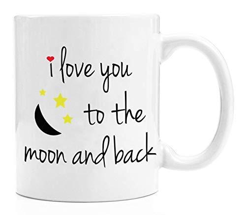 Queen54ferna Divertida taza de café de cerámica con texto en inglés 'I Love You To The Moon and Back' - Novedad cumpleaños para niños, familia, amigos, compañeros de trabajo, 11 oz