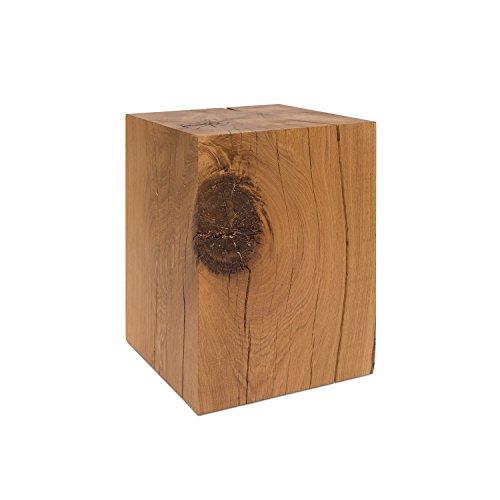GREENHAUS Holzblock Eiche Massiv 25x25x25 cm Handarbeit und Massivholz aus Deutschland Holzklotz Hocker Beistelltisch
