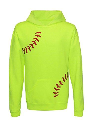 Zone Apparel Girl's Youth Softball Hoodie Sweatshirt - Laces Large Neon Yellow