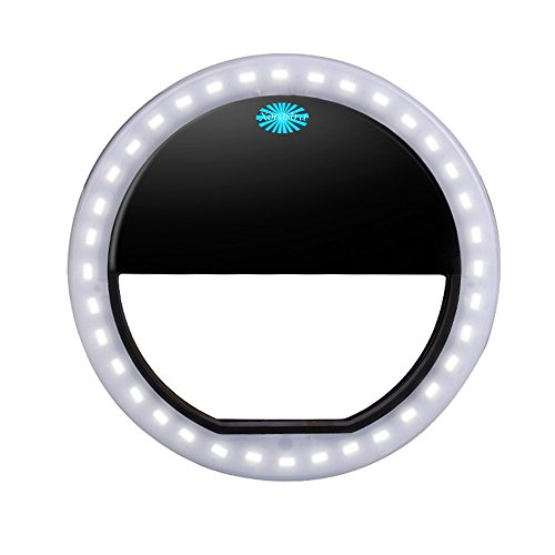 Exquisite Universal Clip-on Beauty Charm Selfie Enhancer 40 LED Ring Light for iPhone & Windows/Android Smartphones (Blk)
