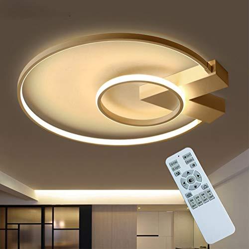 Modern LED Wohnzimmer Deckenlampe 35W Dimmbar Schlafzimmer Deckenleuchte mit Fernbedienung Gold Rund Aluminium Acryl Design Kronleuchter für Innen Schlafzimmer Hotel Küche Kinderzimmer Decke Lampe