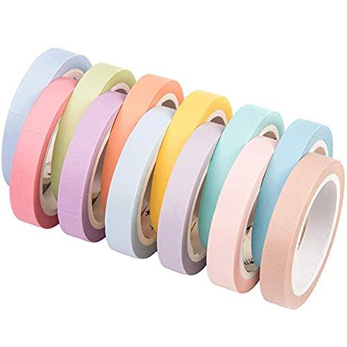 12 rollos de cinta adhesiva decorativa de papel, color caramelo y patrón arco iris, cinta adhesiva para enmascarar diarios, tarjetas, manualidades, álbumes de recortes, 8 mm de ancho