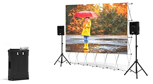 QuikScreen Complete Theater System! 12' Projection Screen with HD Savi 4000 Lumen Projector, Sound System, Streaming Device w/WiFi, Lockable Storage Cabinet (BT-100)