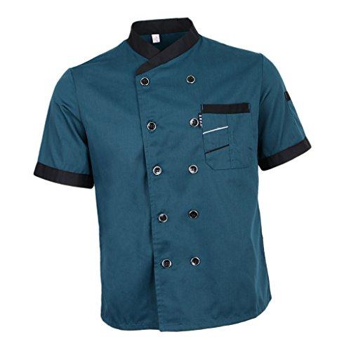 VANKOA Kochjacke Kurzarm Bäcker Kochhemd Bäckerjacke Kochbekleidung atmungsaktiv Koch Uniform mit Zwei Reihen Knöpfen für Damen und Herren - Blau, L