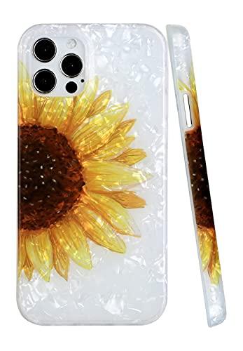 CLM-Tech Cover Compatibile con Apple iPhone 12 PRO Max, Custodia in Silicone TPU Case, Girasole, Oro Multicolore