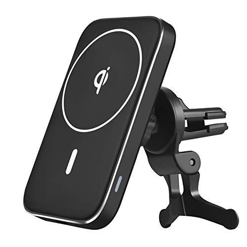 Cargador inalámbrico magnético para automóvil de 15w para Iphone 12 ProMax 12Mini para soporte para automóvil MagSafe Soporte para teléfono de carga rápida para automóvil