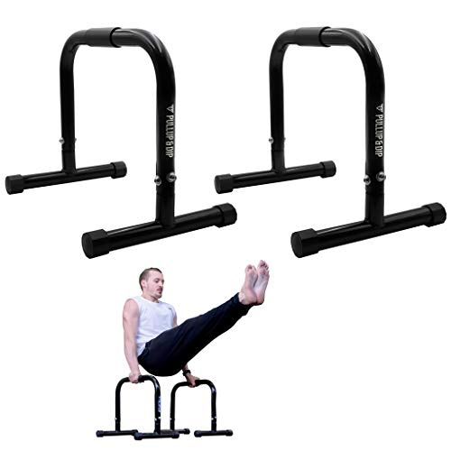 PULLUP & DIP Fitness Parallettes, Medium Parallette Bars for Calisthenics, Crossfit & Gymnastics, Handstand Bars with Extra Wide Handle & No Wobbling