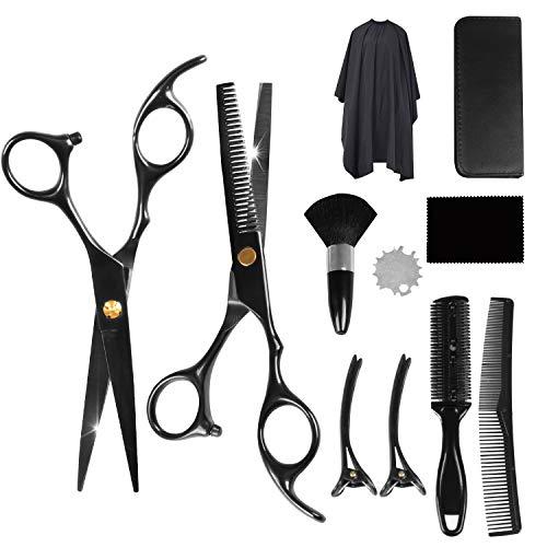 [11 PCS] Haarschere, CarDition Friseurscheren Set mit [Haarschneideschere Profi] [Edelstahl] [Leicht] [Scharf] [Haarschneideschere], Effilierschere für Frauen, Männer, Kinder, Friseurladen