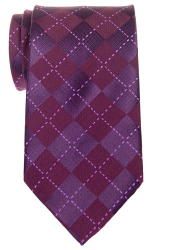 Retreez Classy de cuadros escoceses con tejido de microfibra para hombre corbata–varios colores Morado Morado Oscuro Talla única