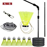 Famed Badminton Trainer, Solo Equipment Practice Training Person Badminton Single Play Rebound Practice Swing Automatic Sparring Badminton Set