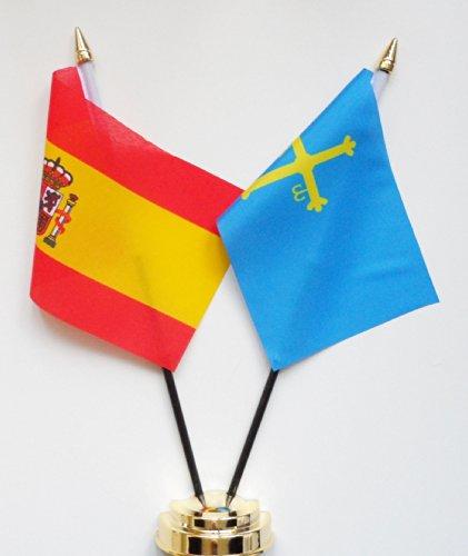 1000 Flags Drapeau de Table Espagne Asturies et d'amitié Écran 25 cm (25,4 cm)