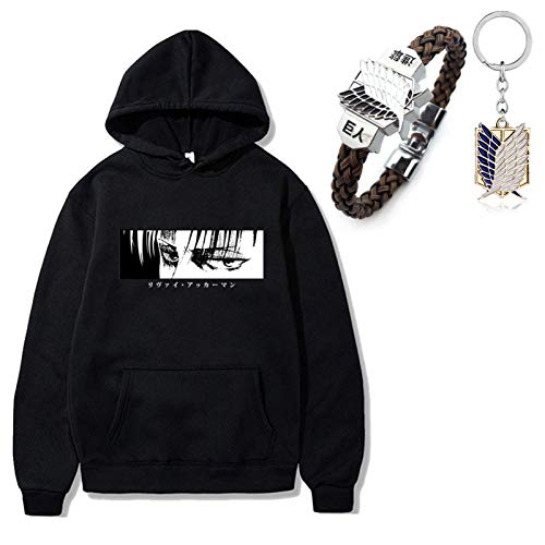 Draftor Anime Attack On Titan Cosplay Hoodie Unisex Sweatshirt Casual Pullover Sweater mit Tasche für Teens Männer Frauen 1pcs Attack On Titan Armband AOT Schlüsselanhänger Gr. L, Schwarz