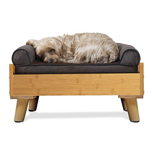 Furhaven Pet Dog Bed Frame - Mid-Century Modern Style Bed Frame Furniture for Pet Beds and Mattresses, Bamboo, Small