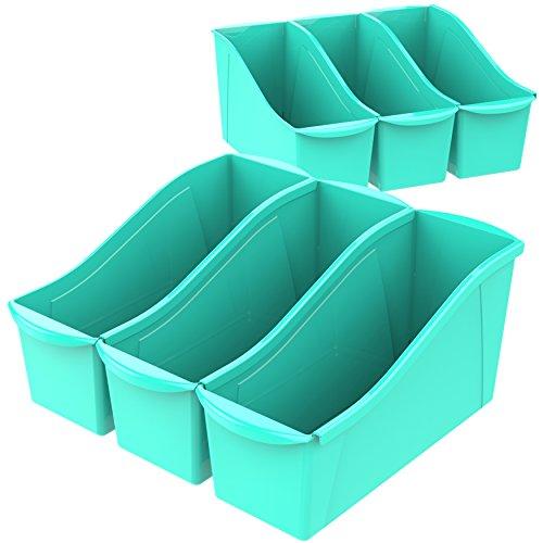 "Storex Large Book Bin, 14.3 x 5.3 x 7"", Teal, Case of 6 (71107U06C)"