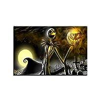 キャンバス塗装 家の装飾HDプリントナイトメアービフォアクリスマスの絵画ハロウィンジャックスケリントンポスターウォールアート 50*75cm