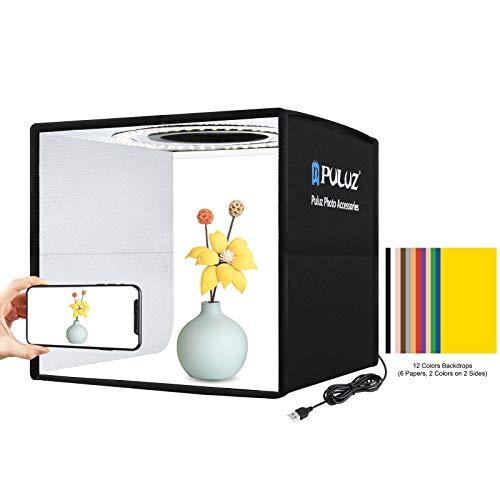 Photo Studio Light Box,PULUZ Mini Folding Soft Ring Light USB Photo Studio Box Kit with 96pcs LED Light and 12 Colors Background for Small Size Products