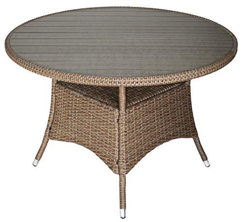 KMH®, Runder Gartentisch *Bobo* mit naturfarbenem Polyrattan und Grauer Tischplatte (Ø 110cm) (#106163)