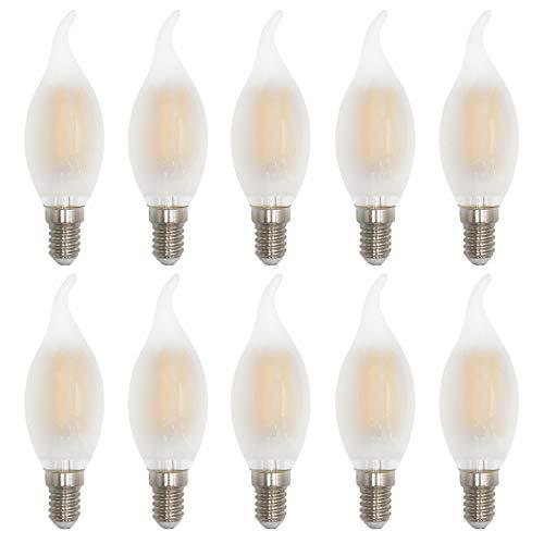 4W LED Bombilla de Filamento Vidrio Mate, E14 Lámpara de vela blanca cálida 2700K, 40W Reemplazo Incandescente, Forma de Llama, Bombilla de Araña Antigua, 400lm, 360° ángulo de haz, AC 220-240V