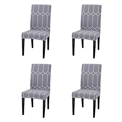 Argstar 4 Pack Chair Covers, Stretch Armless Chair Slipcover for Dining Room Seat Cushion, Spandex Kitchen Parson Chair Protector Cover, Removable & Washable, Grey White