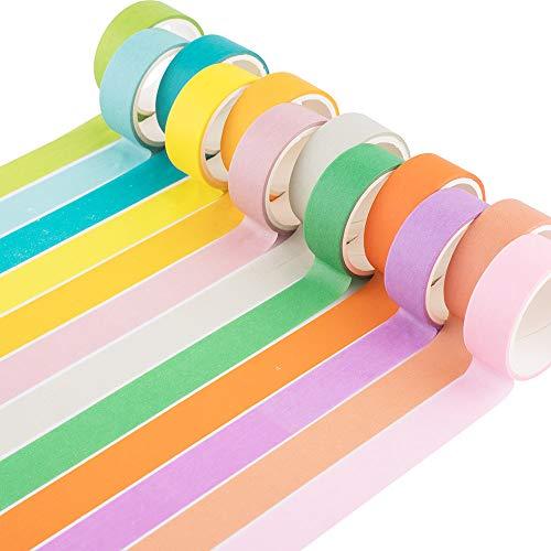 Yubbaexd 12 Rollos Washi Tapes Set de Cinta Adhesiva Washi Cinta Adhesiva Decorativa para Scrapbooking DIY Manualidades (Caramelo de 15mm de ancho)